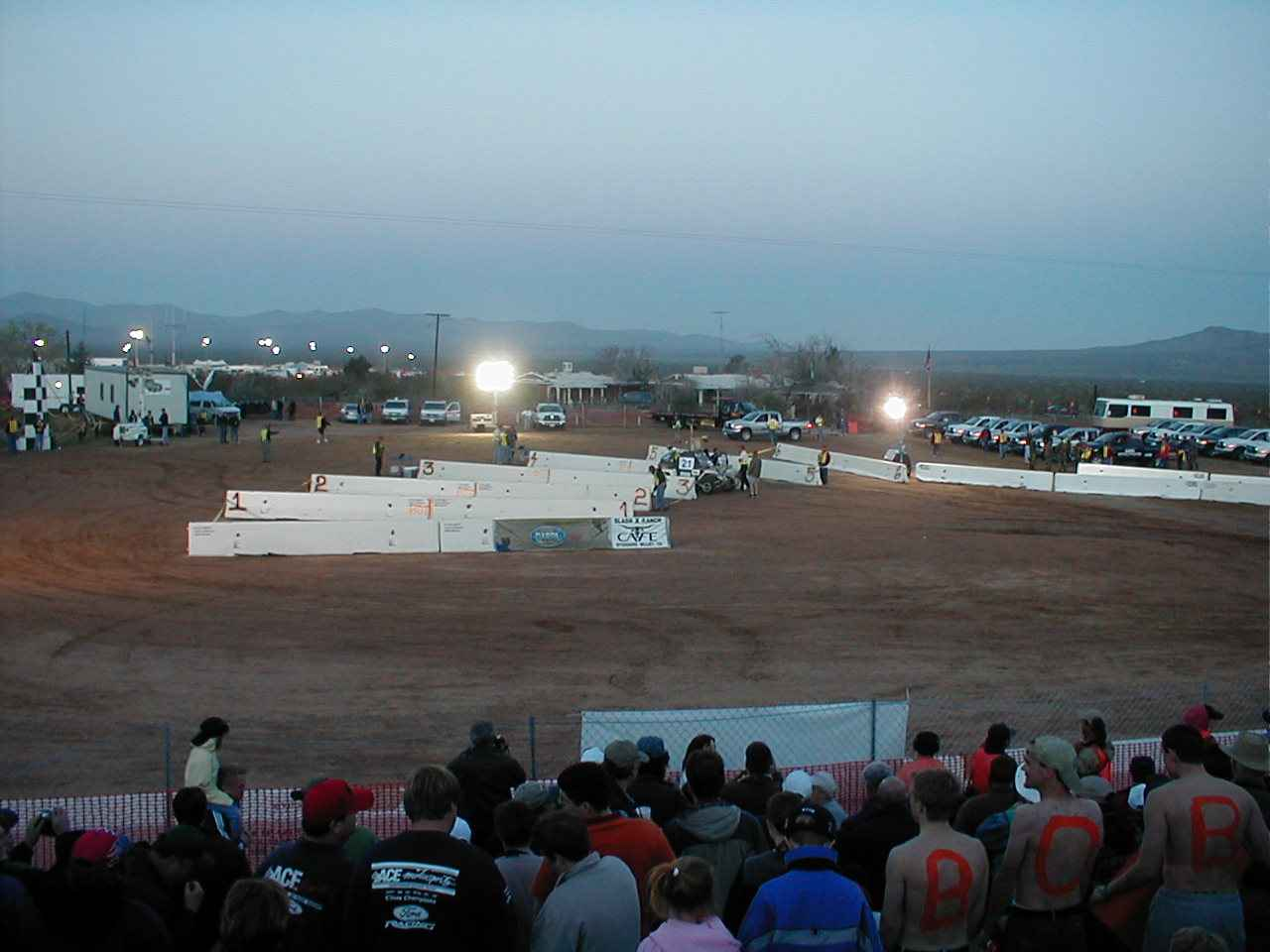 DARPA's robot race got underway in the pre-dawn hours. Starting chutes were